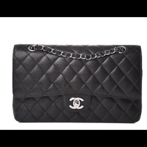 💯 Authentic Chanel handbag with silver chain.